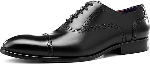 XWQYY Zapaños de Vestir para Empresas Zapaños Cuadraños para hombres, Tallaños en Color Zapaños Oxford de Color,negro-43EU