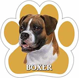 Boxer Car Magnet With Unique Paw Shaped Design Measures 5.2 by 5.2 Inches Covered In UV Gloss For Weather Protection