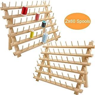 comprar comparacion New brothread 2x60 Carretes Organizador de hilo de madera/estante de hilo con ganchos para colgar para bordar, acolchar y ...