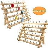 New brothread 2x60 Carretes Organizador de hilo de madera/estante de hilo con ganchos para...