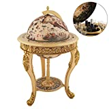 VIDAR Sixteenth-Century Italian Replica Old World Map Parchment Globe Bar Wine Holder 3 Legs in Engraved Golden Composite Plastic Finish