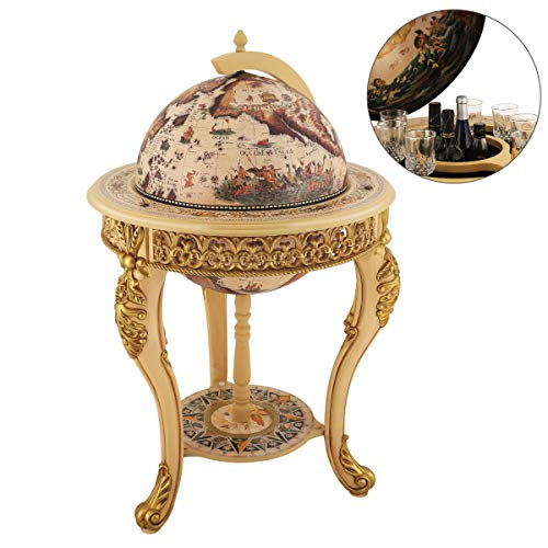 Sixteenth-Century Italian Replica Old World Map Parchment Globe Bar Wine Holder 3 Legs in Engraved Golden Composite Plastic Finish