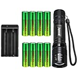 High 2000 Lumen 18650 Flashlight with 8PCS 3.7V 5000mAh Rechargeable Battery and Charger, Ultra Bright Adjustable Focus Handheld light and 5 Modes for Camping, Hiking, Outdoor, Emergency
