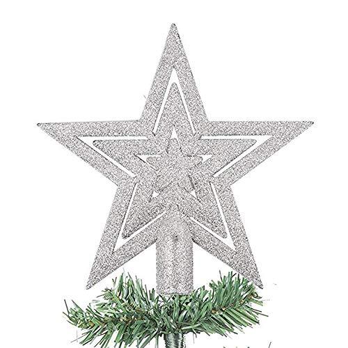 dancepandas Weihnachtsbaum-Spitze Baumspitze Stern Weihnachtsbaum Kunststoff Deko (Silber)