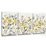 SUMGAR lienzo pintura flores amarillas cuadro de pared cuadro pintura vintage para sala de estar dormitorio pasillo decoración, 30x40 cm, 3 piezas