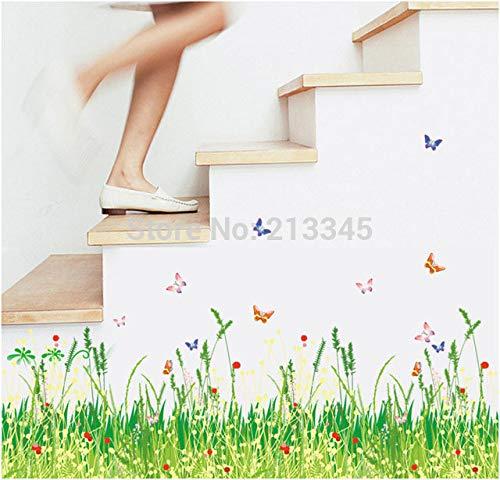 Printemps Style Pastoral Frais Vert Herbe Papillons Coin Waistline Accueil Décoratif Stickers Muraux