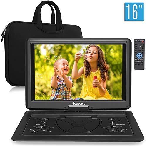 Naviskauto 16 Pouce Lecteur DVD Portable Voiture avec Sacoche de Transport Grand Ecran pour Enfant Supporte HDMI Input,Vidéo Full HD, AV in/Out,Dernière mémoire,Region Libre,USB SD MMC