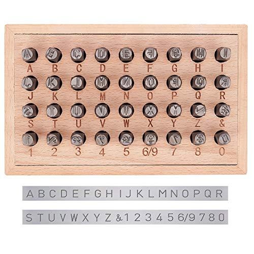 PandaHall 36pcs 6mm Lettre à Frapper, Jeu de Timbres en Métal, Lettre Alphabet A-Z et Numero 0-8 et &, Outil de Presse pour Perforation de Poinçons pour Timbres, Le Fer, Noir, 63x8mm