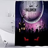Cortina De Ducha Loao Halloween Horror Divertida Ducha 12 Juegos De Ganchos Y Bucles, Una Variedad De Tamaños, Impermeables Y Mohos