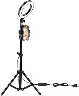 Ringlicht mit Ständer, 15,2 cm (6 Zoll) Selfie LED Ringlicht mit Stativ + Handy Halterung + Fernbedienung, 10 Helligkeitsstufen, für YouTube/Make up/Live Broadcast/Tattoo/VLOG