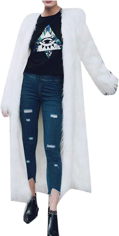 Gocgt Women Faux Fur Parka Coat Trech Jacket Winter Outerwear Warm Overcoat