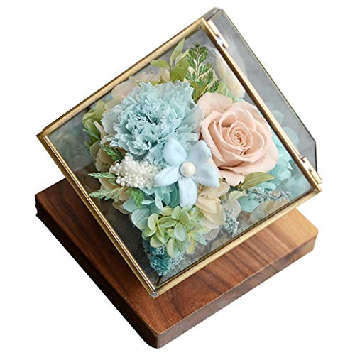 LZL Forever flower Flower Room Preserved Flower Gift Box Preserved Real Carnation Rose Wife Girlfriend Valentine's Day Birthday Beauty and the beast rose (Color : Blue)