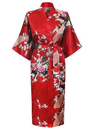Cityoung HonourSport Albornoz Mujer Largo Pava de Satén Camisón Sexy Kimono Vestido
