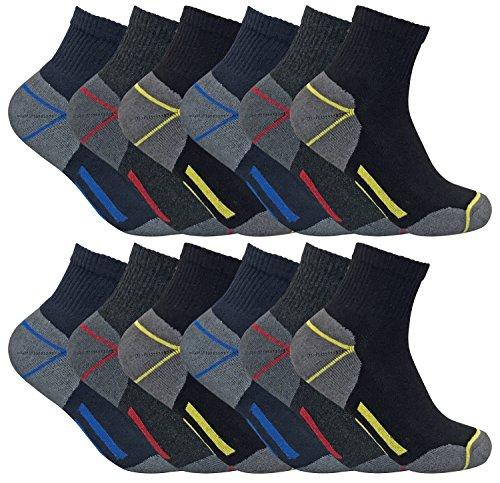 3er 6er 12er pack herren kurzschaft kurz quarter sneaker funktion atmungsaktiv arbeitssocken für sommer mit verstärkt (39-45 eur, 12 pairs (Short))