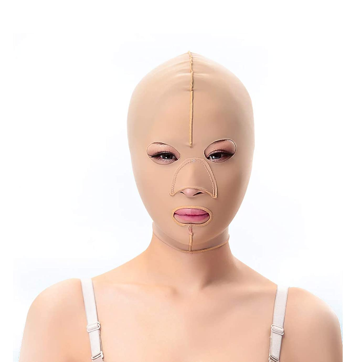 石膏プログラムリークスリミングベルト、二重あごの引き締め顔のプラスチックフェイスアーティファクト強力なフェイス包帯を脇に持ち上げるパターンを欺くためのフェイシャルマスクシンフェイスマスク(サイズ:L),S