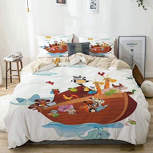Bettwäscheset Beige, The Ark Cartoon Style Schlangenschmetterlinge Bienen Insekten und Fische Tukan Wildlife, Dekoratives 3-teiliges Bettwäscheset in doppelter Größe mit 2 Kissenbezügen Pflegeleicht,