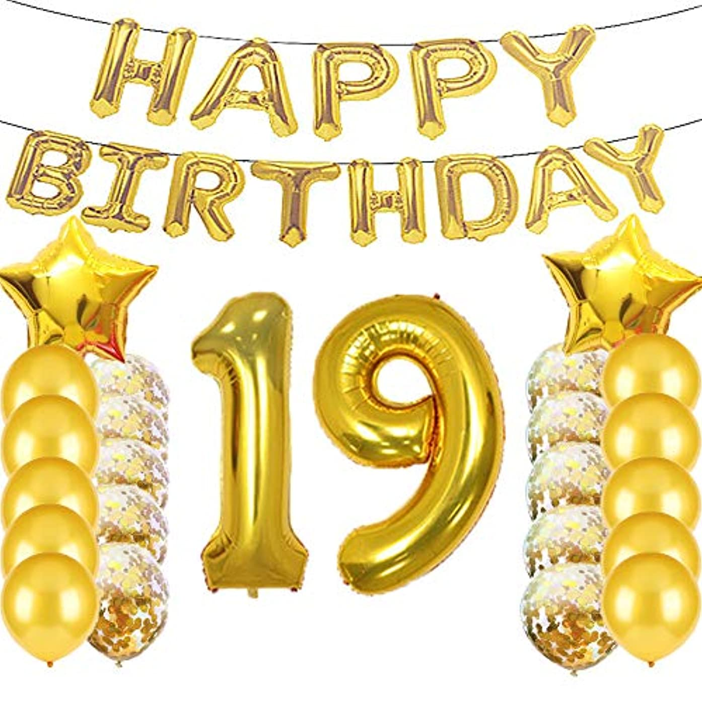 Sweet 19th Birthday Decorations Party Supplies,Gold Number 19 Balloons,19th Foil Mylar Balloons Latex Balloon Decoration,Great 19th Birthday Gifts for Girls,Women,Men,Photo Props