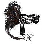 JISEN 1920s Flapper Vintage Peacock Feather Gatsby Beaded Tassel Headpiece Black