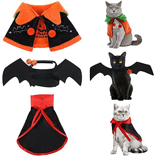 4 Costumi di Halloween per Gatti Mantello da Vampiro per Cani Mantello di Zucca Reversibile per Gatti Carini Ali di Pipistrello con Campane per Pet Decorazioni di Halloween da Cani Gatti