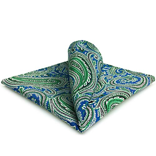 Shlax&Wing Cachemir Azul Verde Pañuelo De Bolsillo Para Hombre Seda Gift Para Hombre