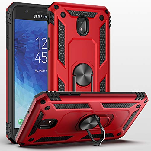 SUSAA Galaxy J7 2018 Case,Samsung Galaxy J7 Aero/J7 Top/J7 Crown/J7 Aura/J7 Refine/J7 Star/J7 Eon Case, 360 Degree Rotating Ring Holder Kickstand Case for Galaxy J7 2018 Red