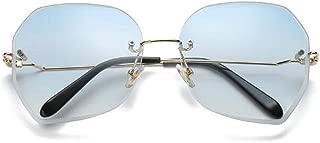 LUKEEXIN Rimless Sunglasses for Women Retro Vintage Sunglasses (Color : Blue)
