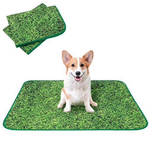 KOOLTAIL Washable Pee Pads for Dogs 2 Packs - Non-Slip Reusable Pee Pads Puppy Potty Training Mat, Waterproof and Absorbent Whelping Pad, Simulation Grass Lawn Design