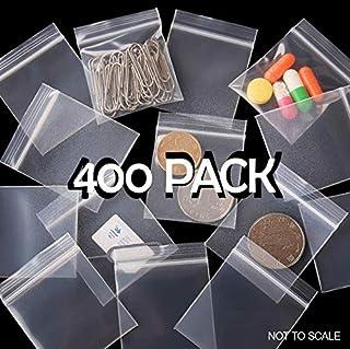 Small resealable plastic bags, 400 pcs, zipper closure, reusable, clear storage bag, 3.8cm x 6.3cm, sealed plastic bag