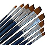 ARTIST PAINT BRUSHES - A - Professional Quality Black Tip, Golden Nylon, Long Handle, Angular Paint Brush Set - Ideal for Acrylic Painting and Oil Painting, and Equally Useful for Watercolor Painting and Gouache Color Painting. - The Natural Characteristics of the Golden Nylon Offers Excellent Liquid Holding Capacity and an Easy, Smooth Flow of Paint. The Fine Angular Head Paintbrushes Have a Luxurious Feel and Excellent Durability, Whilst Good Shape Holding Properties. by Magic Touches