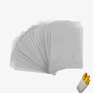 100x Chytaii Sac Sachet Pochette en Kraft Papier Alimentaire Jetable Blanc pour Pains Sandwiches Biscuits Pâtisseries