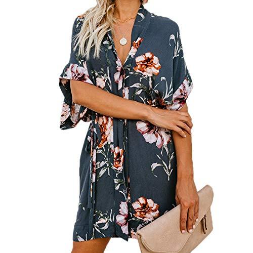 Ajpguot Vestido de Verano Mujer Impresión Mini Vestidos de Playa Elegante Corto Dress de Partido V-Cuello Manga Corta Vestido con Cinturón Suelto Sundress (XL, 101032 Azul-Gris)