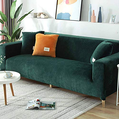 Stretch Sofa Slipcover, Couch Sofa Cover Velvet Water Resistance, Ultra Soft Elastic Bottom Non Slip Furniture Protector For Kids Cat Dog-Chair 75-130CM (30-50in)-turquoise