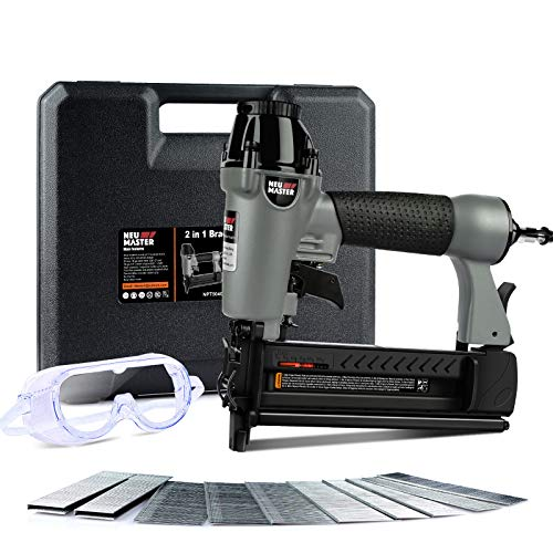 Pneumatic Brad Nailer, NEU MASTER 2 in 1 Nail Gun Staple Gun Fires 18 Gauge 2 Inch Brad Nails and Crown 1-5/8 inch Staples with Carrying Case and Safety Glasses