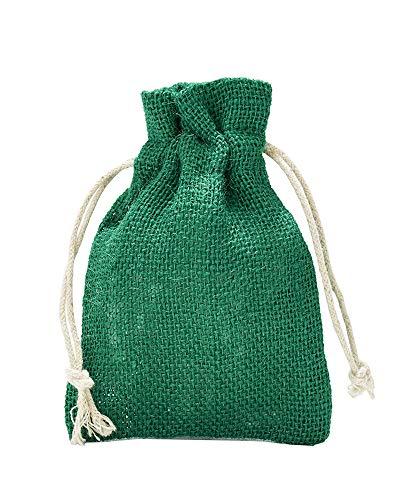 12 Jutesäckchen, Jutebeutel mit Baumwollkordel, Größe:  15x10 cm, 100% Jute, Adventskalender, Dekoration, Jute-Geschenkverpackung, Aufbewahrung (Grün)