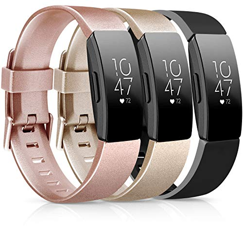 [3 Pack] Soft TPU Bands Compatible with Fitbit Inspire HR/Fitbit Inspire/Fitbit Ace 2 Wristbands Sports Waterproof Wristbands for Fitbit Inspire HR Fitness Tracker (Rose Gold/Gold/Black, Small)