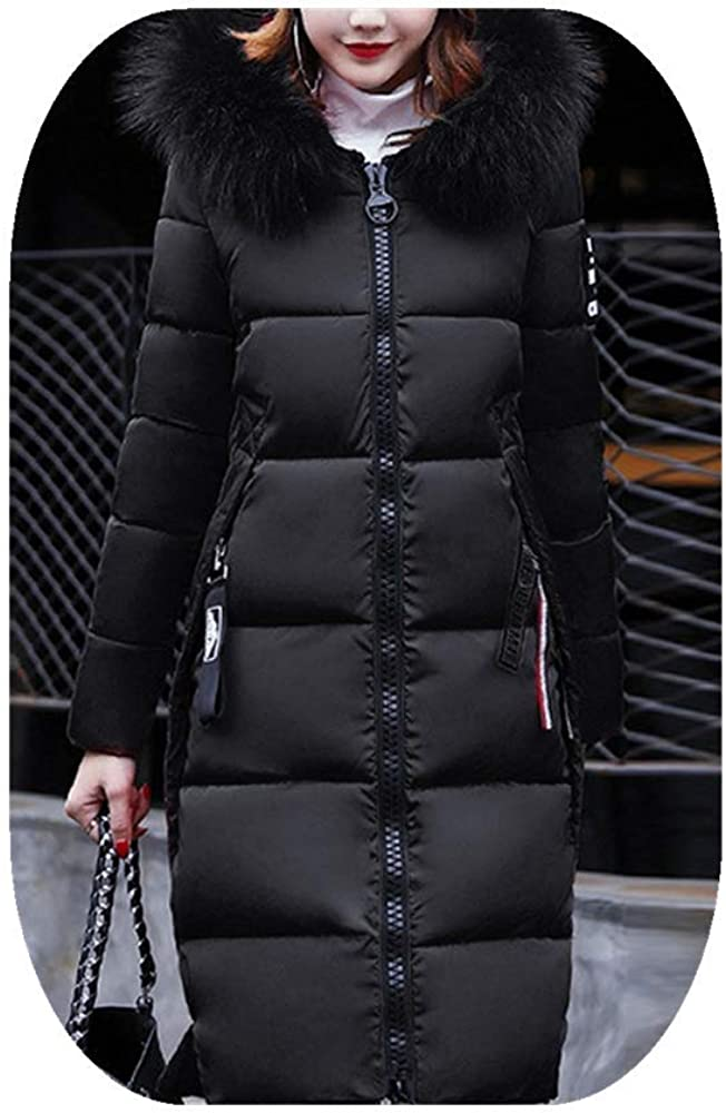 Fheaven Womens Down Long Coat Casual Thicker Winter Outwear with Fur Hood Down Parka Puffer Jacket