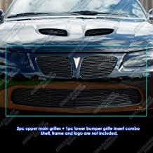 APS Compatible with 04-06 Pontiac GTO Black Billet Grille Grill Combo Insert P81116H