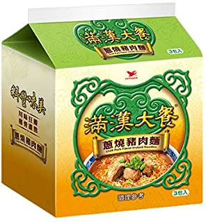 《統一》 滿漢大餐 葱燒猪肉麺 (187g×3袋) (煮込み牛肉・ラーメン) 《台湾 お土産》 [並行輸入品]