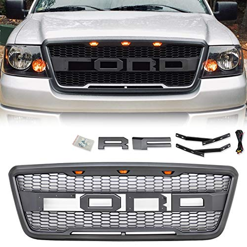 VZ4X4 Grey Raptor Style Grill, Compatible with Ford F-150 2004-2008, Mesh Grille - (IT IS GRAY)