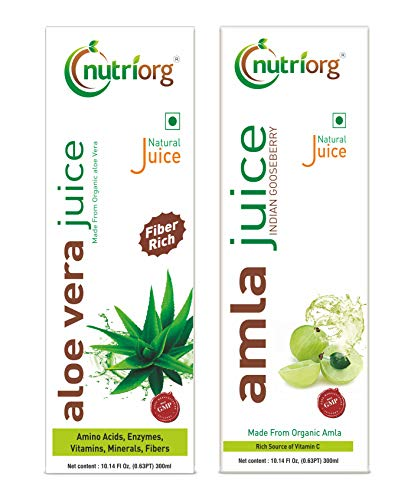 Nutriorg Amla & Aloe Vera Juice - 600 Ml (Pack of 2 - 300 each) | Organically Grown| Immunity Booster | Detoxification