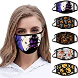 Halloween Protective_Mask_Three-Dimensional Pumpkin Pattern Printed Washable and Reusable_Mask_Face_Bandana for Adults (E, 5 PC)