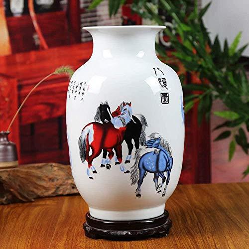Vaas decoratie Vintage keramische vaas Home Decoration Acht paarden grote vaas Flower Decoration Versiering