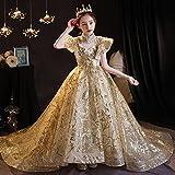 SUNXC Princesa Disfraz Traje Parte Las Niñas Vestido, Vestido de Noche de Cola para niños-One Kind_160 cm, Niñas Traje Fiesta De Cumpleaños