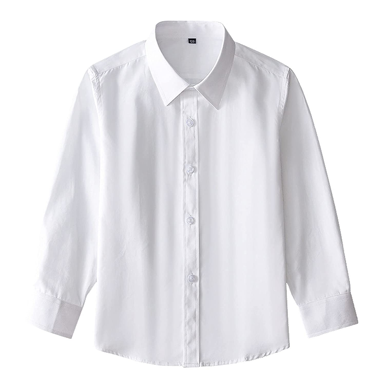 Teen Kids Baby Girls Boys Long Sleeve School Uniform Button Dress Shirts Tops Solid Blouse Formal Wear