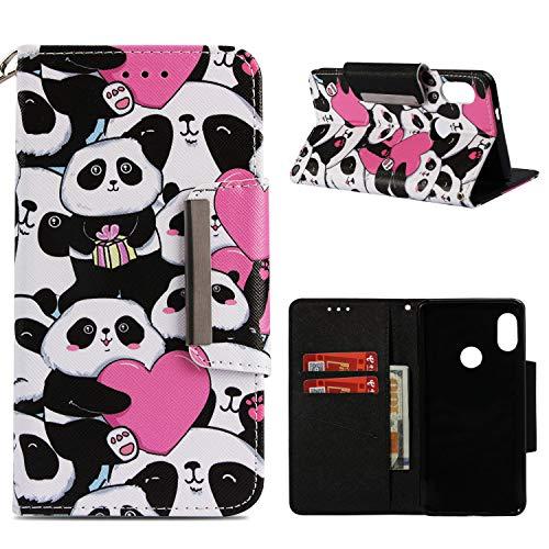 BONROY Xiaomi Redmi Note 5 Pro Etui Cuir-Etui à Rabat Portefeuille de Carte Slots Support Case Cover Housse [Style d'impression] - (étui en Cuir Peint, Panda d'amour)