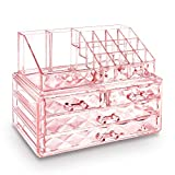 Ikee Design Pink Color Diamond Pattern Jewelry & Cosmetic Storage Display Boxes Two Pieces Set, Cosmetic Jewelry Organizer Makeup Holder, Cosmetic Holder, Cosmetic Organizer for Vanity
