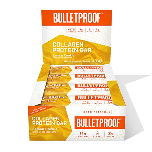 Collagen Protein Bars, Lemon Cookie, 11g Protein, 12 Pack, Bulletproof Grass Fed Healthy Snacks, Made with MCT Oil, 2g Sugar, No Added Sugar