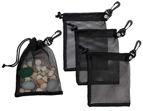 Mesh Drawstring Bag With Clip - Set of 4 (6 x 8 inch)