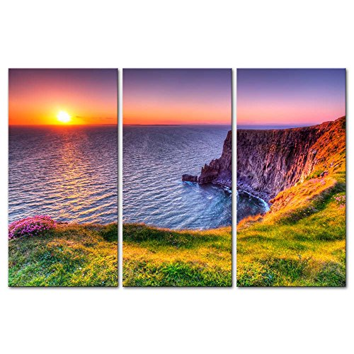 Cliffs of Moher Ireland Sunset Seascape Wall Art Decor Poster Painting On Canvas Print Pictures Framed Picture for The Home Decor Living Room Artwork