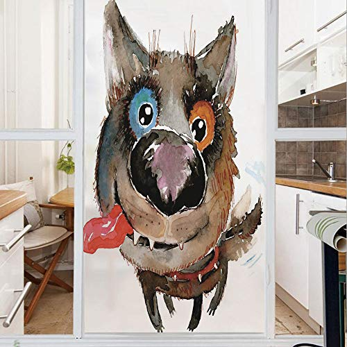 Decorative Window Film,No Glue Frosted Privacy Film,Stained Glass Door Film,Funny Dog Puppy Smiling Best Companion Happy Creature Humor Grunge Print,for Home & Office,23.6In. by 35.4In Cocoa Red Orang